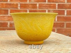Chinese Porcelain Chinese Yellow Dragon Bowl with Signature