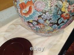 Chinese Porcelain Fish Bowl Planter 14.5 x 12 tall Floral Stand