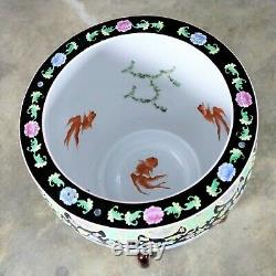 Chinese Porcelain Fish Bowl on Stand with Round Glass Top Dining or Center Table