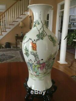 Chinese Porcelain Republic Period Famille Rose Boys Vase