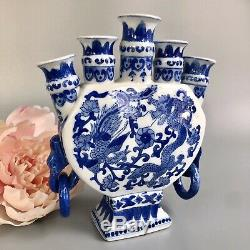 Chinese Porcelain Tulip Vase Five Spouts, Decorated Blue & White, Dragon