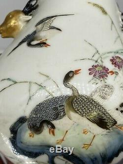 Chinese Qianlong Mark Porcelain Vase 20th Century Decorated Geese Deer Handles
