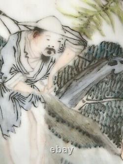 Chinese Republican Qianjiang Porcelain Hexagonal Vase Signed
