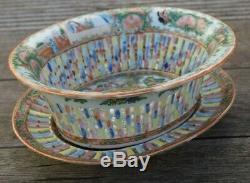 Chinese Rose Medallion Porcelain Reticulated Chestnut Basket & Under Plate