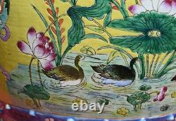 Chinese Straits Porcelain Garden Stool Peranakan Nyonya Antique Yellow Ground