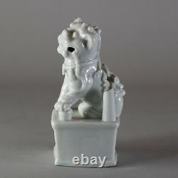 Chinese blanc-de-chine joss stick holder modelled as a lion, 17th century