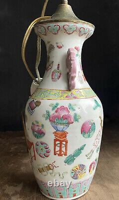 Chinese famille rose Porcelain vase / lamp Tongzhi, late Qing Dynasty