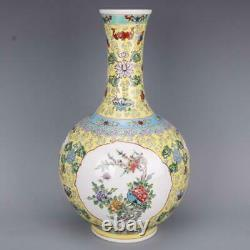 Collect Chinese Qing Dynasty Yongzheng Porcelain Famille Rose Flowers Birds Vase