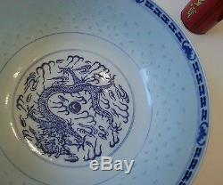 Early 1900s Chinese Porcelain Blue & White Translucent Rice Pattern Bowl