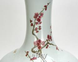 Early Republic Chinese Famille Rose Bird Flower Porcelain Vase with Qianlong MK