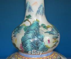 Elegant Antique Chinese Famille Rose Porcelain Vase Marked Qianlong Rare O6916