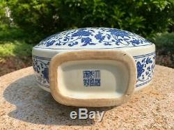 Estate Collection Chinese Antique Blue And White Porcelain Moon Vase
