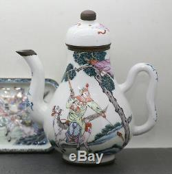 Exquisite Antique Chinese Matching Porcelain Teapot & Plate Export Ware c1700s