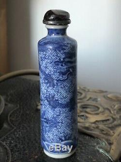 Fine Antique Chinese Porcelain Blue & White Dragon Vase Snuff / Perfume Bottle