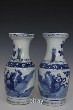 Fine Beautiful Chinese Pair Blue and White Porcelain Characters Vases