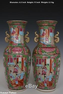 Fine Beautiful Chinese Pair Famille Rose Porcelain Duo Handles Characters Vases