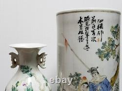 Fine Chinese Familie Rose Porcelain Vase Hat Tube(Mulan) With Small Vase