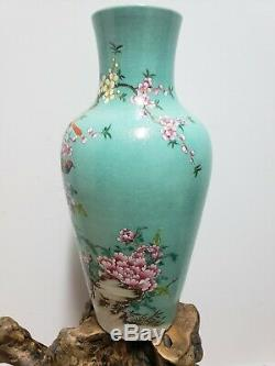 Fine Chinese Green Base With Famille Rose Porcelain Vase