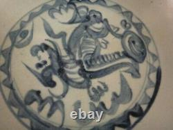 Fine Chinese Ming dynasty B&W Porcelain Charger. C. 1600. 12 dia