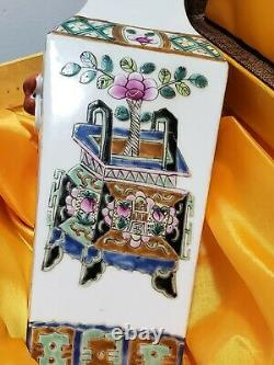 Fine Chinese Square Porcelain Famille Rose Vase With Box