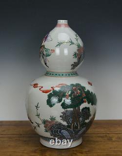 Fine Chinese Wucai Famille Verte Figure Double Gourd Porcelain Vase