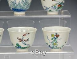 Fine Complete Collection Set of 12 Qing Chinese Doucai Floral Porcelain Wine Cup