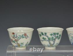 Fine Complete Set of 12 Chinese Qing Kangxi MK Doucai Floral Porcelain Wine Cup
