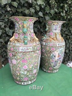 Fine Huge Pair 20th Century Chinese Famille Rose Porcelain Vases 24.5