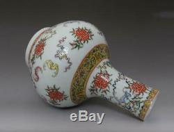 Fine Old Chinese Famille Rose Porcelain Vase Qianlong Marked 32cm (668)