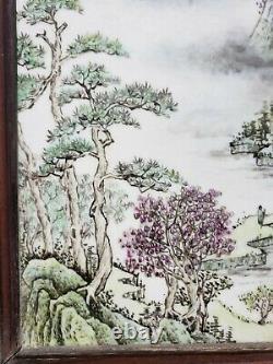 Fine Old Chinese Porcelain Famille Rose Plaque Landscape