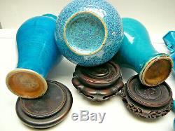 Group of 8 Chinese porcelain turquoise peacock blue robins egg glaze vases 18thC