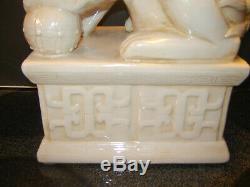 HUGE 2Unique Foo Dog Old Chinese Ceramic Porcelain Hollywood Regency from Estate