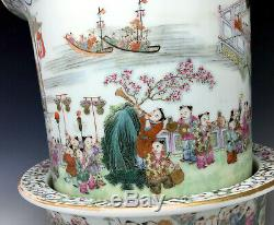 Highly Detailed Antique Chinese Porcelain Planter Republic 100 Boys Marked 20th