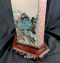 Impressive Chinese Japanese Famille Verte Enamel Porcelain Vase Foo Dog Lions