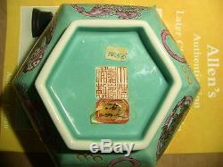 Jiaqing Seal hexagonal Chinese TURQUOISE Porcelain BOWL w FOO DOGS + Red Paper