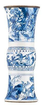 Kangxi Chinese Antique Porcelain Blue And White Gu Vase With Deity And Children