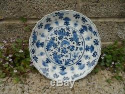 Kangxi mark and period Chinese porcelain blue and white dish c18th 19 cm dia