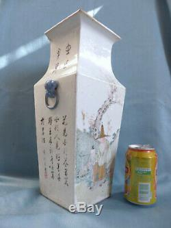 LARGE ANTIQUE CHINESE PORCELAIN SQUARE VASE w. CALLIGRAPHY 14 1/2 37 cm (#2)