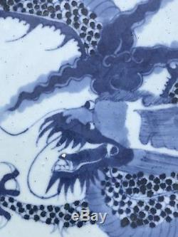 Large 18th Century Antique Chinese Porcelain Blue And White Dragon Plate