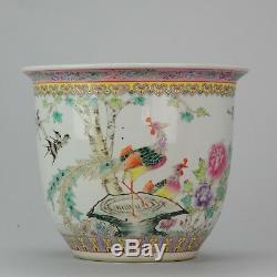 Large 1960-1970 Chinese Porcelain Fishbowl / Planter for Flower Birds Calligr
