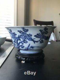 Large Antique Chinese Porcelain Blue And White Rice Bowl Kangxi Period. Mark