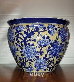 Large Antique Chinese Porcelain Planter Jardiniere Fish Bowl Blue White Peonies