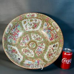 Large Antique Chinese Punch Bowl Export Porcelain Canton Rose Medallion 19th C