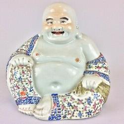 Large Antique Vintage Chinese Porcelain Famille Rose Buddha Statue Figure