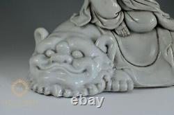 Large Chinese Dehua Porcelain Blanc De Chine Seated Guanyin On Lion Figure