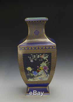 Large Chinese Famille Rose Blue Ground Gilt Porcelain Hu Vase