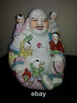 Large Chinese Porcelain Famille Rose Buddha Kids Vintage