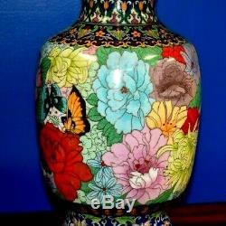 Large Pair Of 36 Chinese Cloisonne Vase Lamps- Porcelain Enamel Asian Oriental