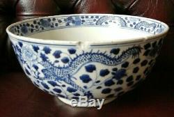 Large antique CHINESE QING DYNASTY BLUE & WHITE PORCELAIN BOWL KANGXI MARK AF