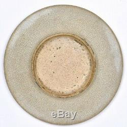 Late 19C Chinese Guan Ge Type Crackle Porcelain Scholar Dish Plate